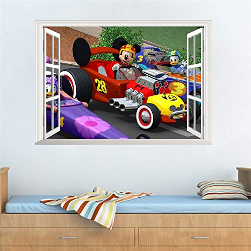 Mickey Mouse Donald Duck 3D Window Racing Car Wall Sticker Decorative Nursery Boy Room Decor Home Decal Mural ()