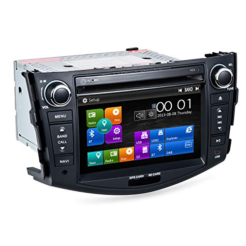 RAV4 Car Stereo DVD Player-Double Din In-Dash, Multimedia Receiver with 7 Inches Touchscreen, Built-in Bluetooth, GPS Navigation, USB Port, SD, AUX Input, AM/FM Radio Receiver, Applicable models: 2006