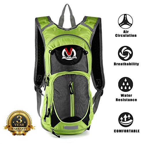 SAVADECK 15L Water-Resistant Cycling Backpack Cycle Bike Shoulder Hydration Bladder Bag Biking Rucksack with Safety Reflective Sections and Helmet-Mounted System (Green) ()