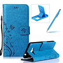 Wallet Leather Case for Galaxy Grand Prime,Book Style Pu Leather Case for Galaxy Grand Prime,Herzzer Retro Butterfly Flower Pattern Flip Fold Pouch Case with Holders Stand Case