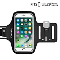 iPhone 7 Plus 6 Plus 6s Plus Armband, Portholic Workout Armband for Samsung Galaxy 6/7 Edge s8/s8 Plus, LG G5, Note 2/3/4/5, Key&Cards Holders, Cable Locker(6.0-Inch) for Running,Hiking,Biking,Walking