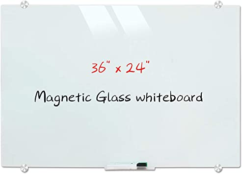 Amazon Com Magnetic Glass Whiteboard Wall Mounted Glass Dry Erase White Board Frosted White Surface Frameless Glass Board With 4 Markers 2 Magnets 1 Eraser 36 X 24 Inch 90 X 60 Cm Office Products