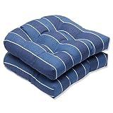 Pillow Perfect Outdoor Wickenburg Wicker Seat Cushion, Indigo, Set of 2