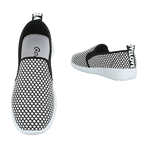 Halbschuhe Low Stretch Weiß Ital Top Schwarz Slipper Design Damenschuhe PWtHYq