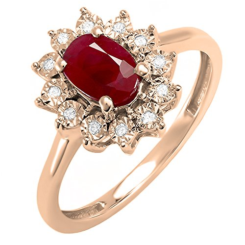 Dazzlingrock Collection Kate Middleton Diana Inspired 10K Diamond & Ruby Engagement Ring 1 1/4 CT, Rose Gold, Size 5