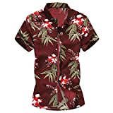 Shirts for Men Casual Printed Buttons Up Shirts Short Sleeve Hawaiian T-Shirt Top Blouse for Beach Summer Holiday Red