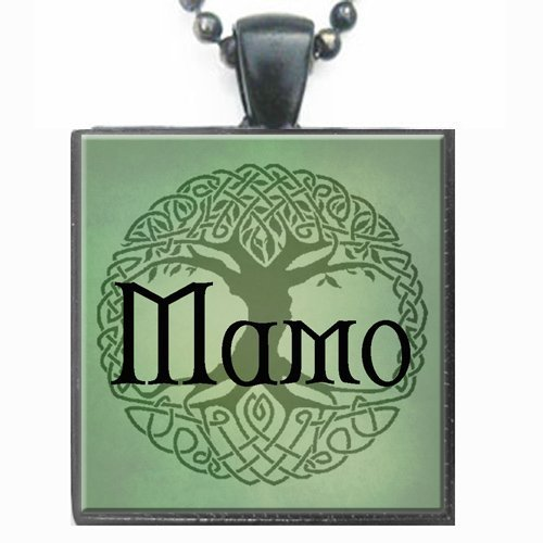Mamo Celtic Tree of Life Glass Tile Black Pendant Necklace W/chain