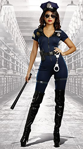 Dreamgirl Women's Lieutenant Ivana Misbehave Costume, Blue, Large