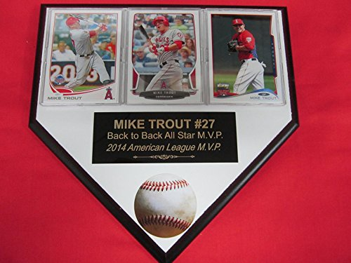 Mike Trout Anaheim Angels 3 Card Collector HOME PLATE Plaque EXCLUSIVE DESIGN to (Anaheim White Baseball)
