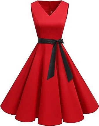 TALLA L. Bridesmay Vestido de Cóctel Fiesta Mujer Verano Años 50 Vintage Rockabilly Sin Mangas Pin Up Rojo L