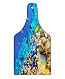 Lunarable Ocean Cutting Board, Clear Sea Animal World Corals Tropical Fishes and Starfish Egyptian Sea Image, Decorative Tempered Glass Cutting and Serving Board, Wine Bottle Shape, Aqua Blue and Tan