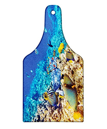 Lunarable Ocean Cutting Board, Clear Sea Animal World Corals Tropical Fishes and Starfish Egyptian Sea Image, Decorative Tempered Glass Cutting and Serving Board, Wine Bottle Shape, Aqua Blue and Tan by Lunarable