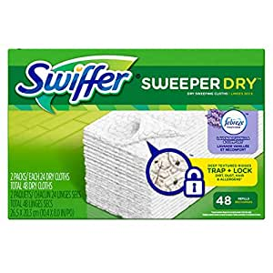 Swiffer Sweeper Dry Sweeping Pad Refills for Floor mop with Febreze Lavender Vanilla & Comfort Scent 48 Count