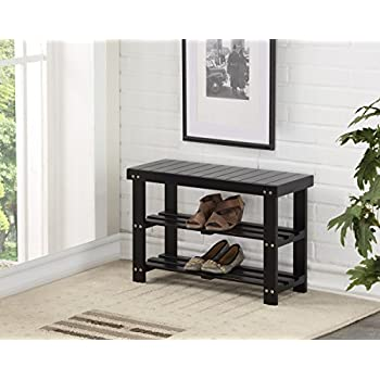 black wood entryway benches with shoe storages | Amazon.com: Black Finish Solid Wood Storage Entryway 2 ...