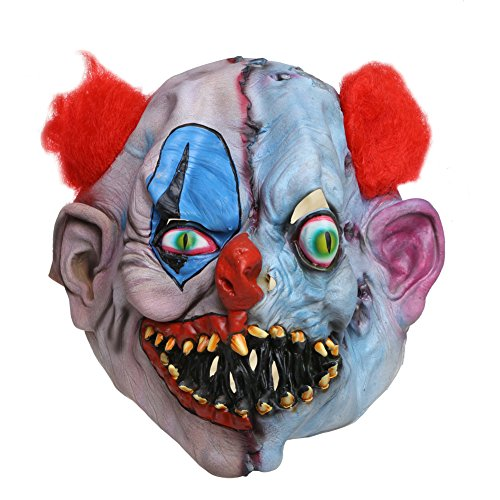 Latex Jester (Scary Joker Clown Mask with Red Hair, Latex Full Head Mask for Halloween Costume Party Decoration)