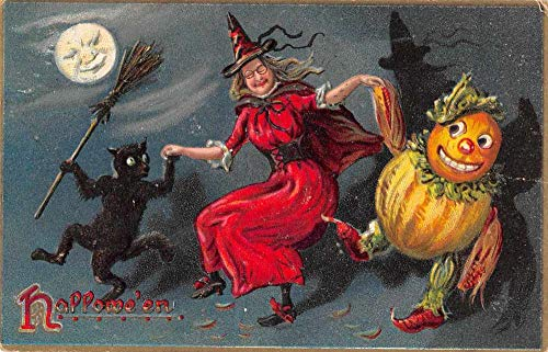 Halloween Greetings Witch Black Cat Pumpkin Dancing Fantasy Tuck Postcard AA196