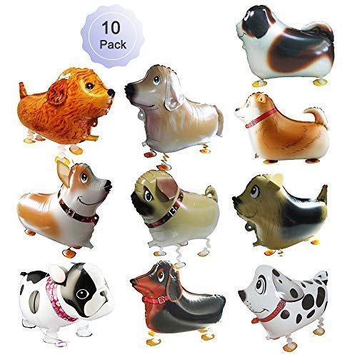 Walking Balloons Dog Animals Walking Balloon Set Kids Pet Dogs Birthday Party Supplies Animal Theme Balloons Toys Baby Puppy Air Walkers Gift Party Decorations 10 Pack]()
