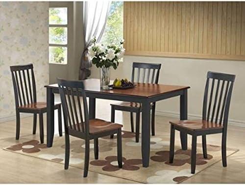 Amazon Com Boraam Bloomington 5 Piece Dining Room Set Black Cherry Table Chair Sets