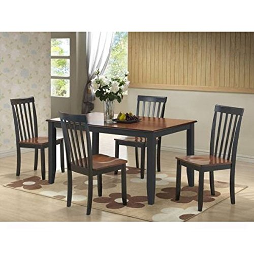 Boraam 21034 Bloomington 5-Piece Dining Room Set, Black/Cherry (Stool Cherry Pub Antique)