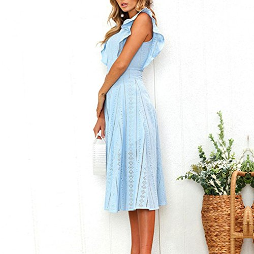 Ruffled Irregular Dress, Clearance! AgrinTol Women Sexy Solid Sleeveless Zipper Round Neck Lace Dress at Amazon Womens Clothing store: