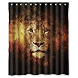 The Head of Cool Lion Love Wild Animal - Fashion Personalize Custom Bathroom Shower Curtain Waterproof Polyester Fabric 60(w)x72(h) Rings Included