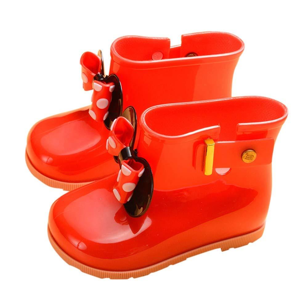 Robemon à l'intérieur en Daim Chaud Chaud Non-Slip Chaussures d'eau Enfants garçons et Filles Bow Spot étudiants Bottes de Pluie Bottes