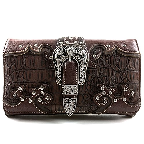 Justin West Western Tooled Croc Animal Faux Leather Silver Buckle Studded Wristlet Trifold Wallet Attachable Long Strap (Brown)