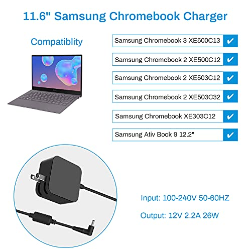 UL Listed 12V 2.2A 26W Charger Laptop AC Adapter Power Supply Cord Compatible with Samsung Chromebook 3 2 XE500C13 PA-1250-98 XE501C13 XE303C12 XE500C12 XE503C12 XE503C32 Tablet 11.6