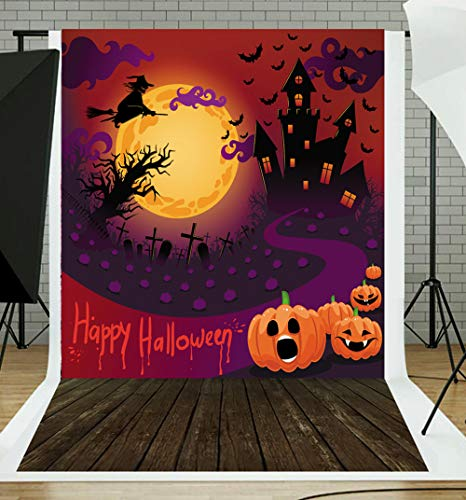 DLERGT 5x7ft Happy Halloween Backdrop Witch Broom Bat Pumpkin Wood Floor Children Halloween Party Decoration 2-118