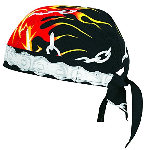 Vega Head Wrap with Chains and Flame Graphics (Black, One Size)