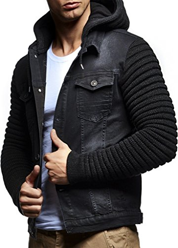 Leif Nelson LN5240 Men's Casual Denim Jacket with Knitted Sleeves; Size XL, Black