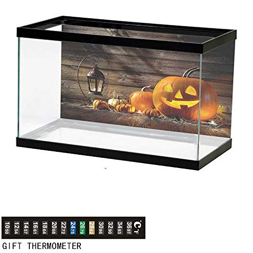 bybyhome Fish Tank Backdrop Halloween,Grinning Face of Pumpkin,Aquarium Background,30