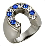 T9 Men's Stainless Steel Horseshoe Ring Blue Clear Rhinestones Horses Colts Rodeo Western Style (14)