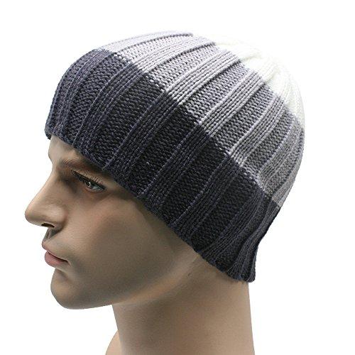 URIBAKE ❤ Unisex Striped Beanie Stretch Wool Knitted Ski Crochet Slouchy Hip-Hop Winter Warm Hat Cap ()