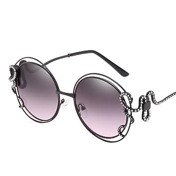 Sonnenbrille Persönlichkeit Große Rahmen Hohle Diamanten Lady Fahren Reise Brille,Gray