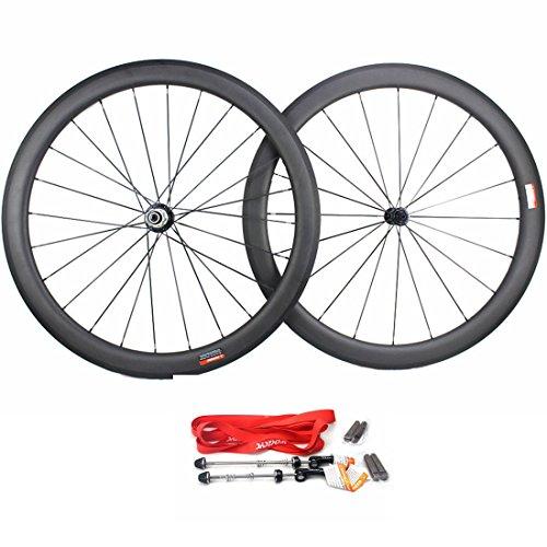 Road Bike Wheel set 50mm Clincher Carbon Fiber Matte 25mm Width For Shimano or Sram 10/11 Speed 700C Wheels by WOKECYC