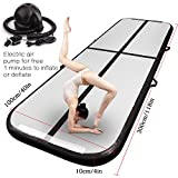 FBSPORT Inflatable Gymnastics AirTrack Tumbling Mat Air Track Floor Mats with Electric Air Pump for Home Use/Training/Cheerleading/Beach/Park and Water Length 9.8foot-(300cm)