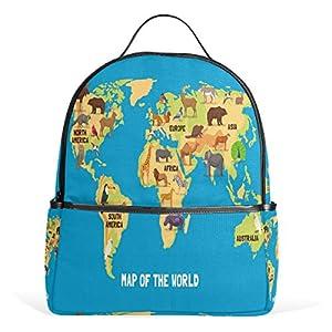 Ahomy – Mochilas Escolares con diseño de mapamundi, Elefante, búho, Bolso de Hombro para niñas y niños