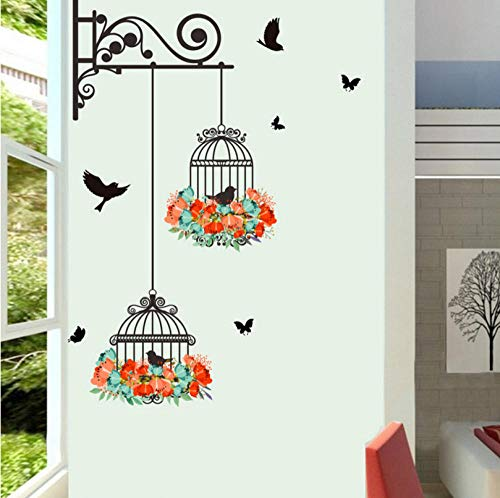 qzheng Colorful Flower Bird Cage Bird Wall Stickers Creative Home Decoration Living Room Applique Wallpaper Bedroom Kindergarten Window Decoration 56 X 76Cm