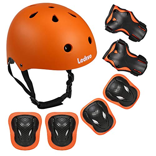 Ledivo Kids Adjustable Helmet Suitable for Ages 3-8 Years Toddler Boys Girls, Sports Protective Gear Set Knee Elbow Wrist Pads for Bike Bicycle Skateboard Scooter Rollerblading
