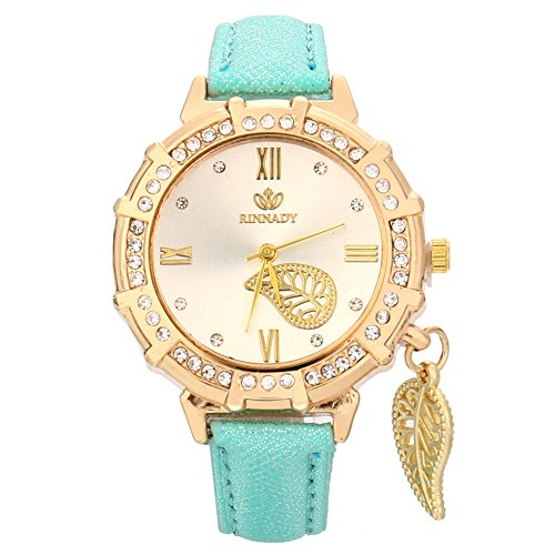 New Women Quartz Wrist Leaves Tower Rhinestone Pendant Wrist Watch,Outsta Bracelet Strap Watch Analog Watch Best Gift (Green)