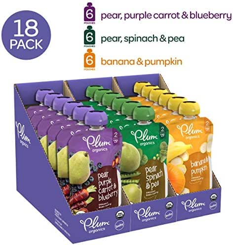 Plum Organics Stage 2, Organic Baby Food, Fruit and Veggie Variety Pack, 4 ounce pouches (Pack of 18) (Packaging May Vary)