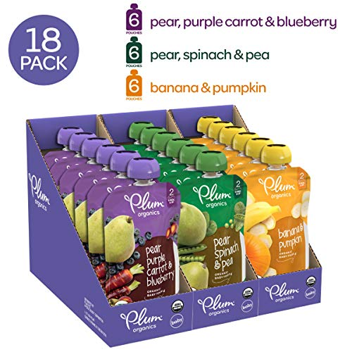 (Plum Organics Stage 2, Organic Baby Food, Fruit and Veggie Variety Pack, 4 ounce pouches (Pack of 18) (Packaging May Vary))