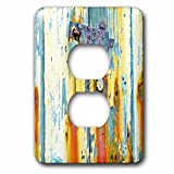 3dRose Abstract Wood Colors - Image of Aged Blue and Orange Wood With Lock - Light Switch Covers - 2 plug outlet cover (lsp_264394_6)