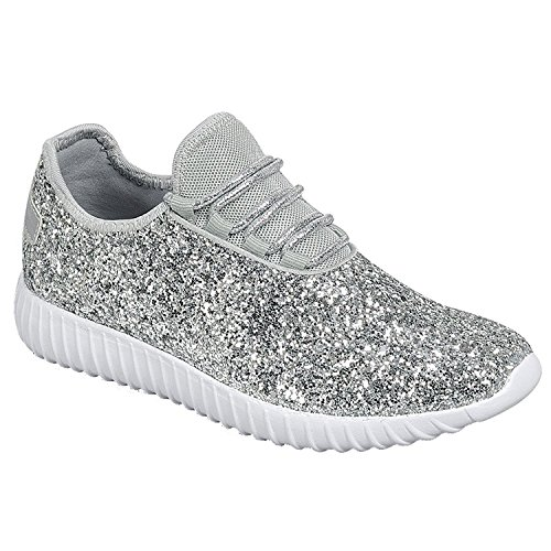 Forever Link Women's Remy-18 Glitter Fashion Sneakers,Silver-18,5]()
