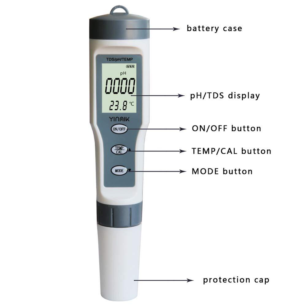 XMAGG Calidad del Agua Medidor de Prueba TDS PH Temperatura ...