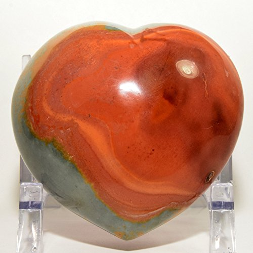 Large 4.25'' 1.9lb Multicolor Polychrome Jasper Puffy Heart Natural Mineral Colorful Crystal Polished Love Stone Heart - Madagascar + Acrylic Display Stand by HQRP-Crystal