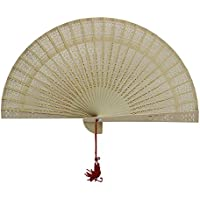 Weixinbuy Aromatic Wood Fan Hollow Hand Fan Home Decoration Wedding Shower Party