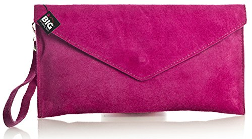 Big Handbag Shop Womens Real Italian Suede Leather Envelope Clutch Bag with Dust Bag - Pink (GL332)