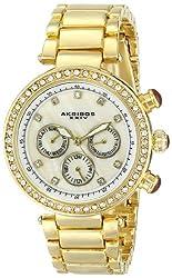 Akribos XXIV Women's AK681YG Lady Diamond Crystal-Accented Gold-Tone Watch